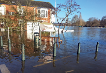 Flooding on the River Thames at Henley in Oxfordshire, UK. Does climate change mean more of this? (c) Kathryn Anderson, via Weather magazine