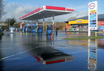 A flooded petrol station. Oh, the irony.