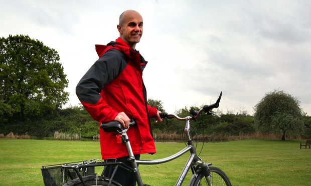 David with his trusty bicycle. Photograph: Graham Turner for the Guardian
